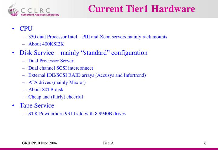 Current Tier1 Hardware