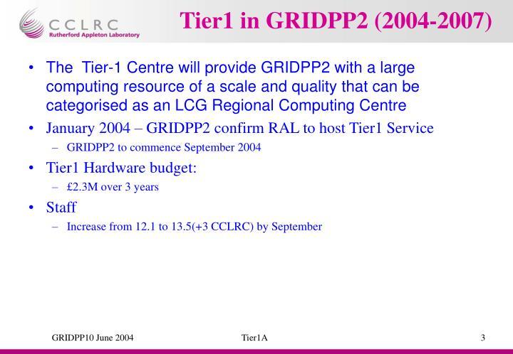 Tier1 in gridpp2 2004 2007