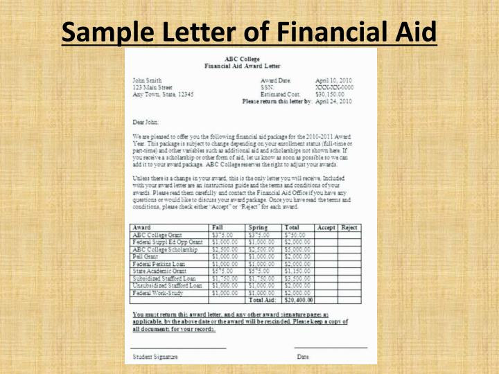 Sample Letter of Financial Aid