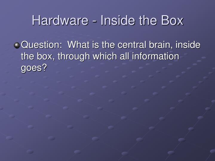 hardware inside the box n.