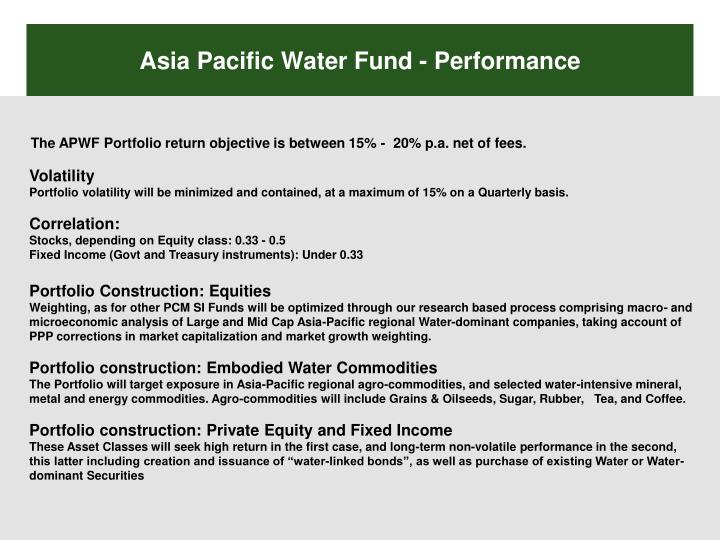 Asia Pacific Water Fund - Performance