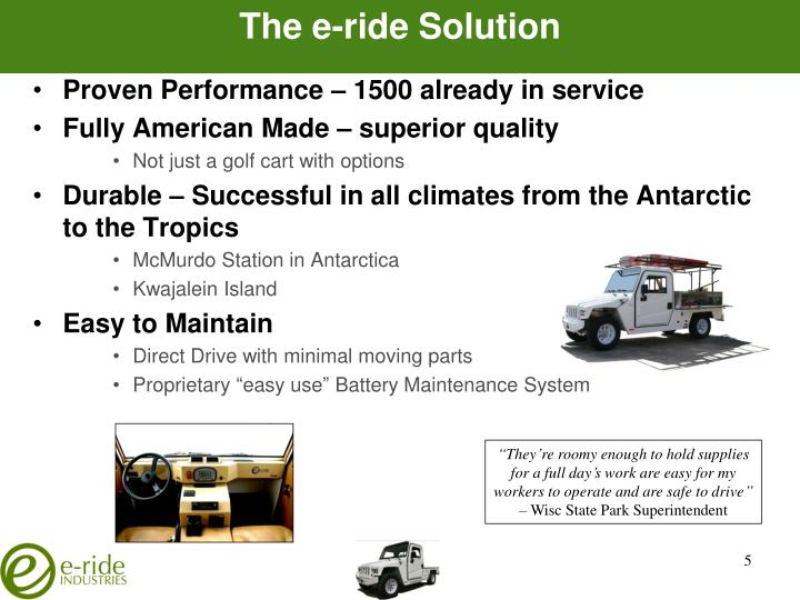 The e-ride Solution