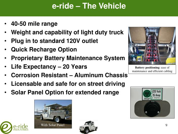 e-ride – The Vehicle