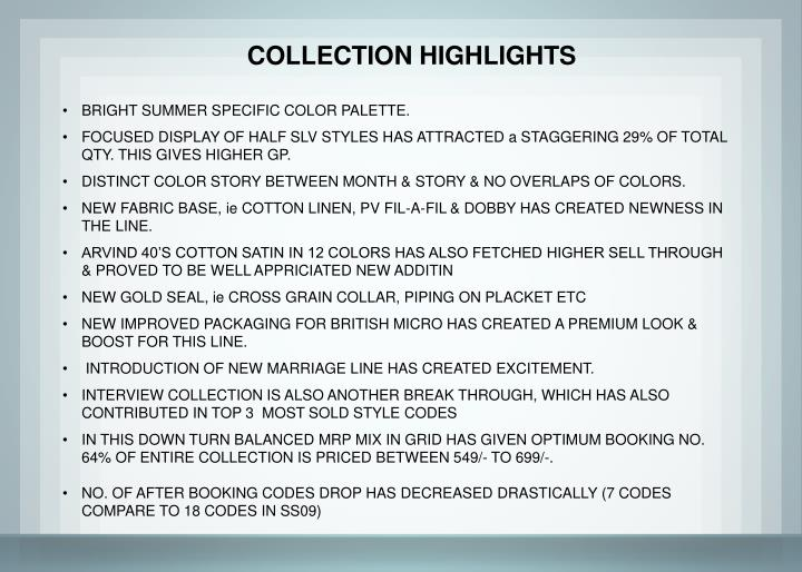 COLLECTION HIGHLIGHTS