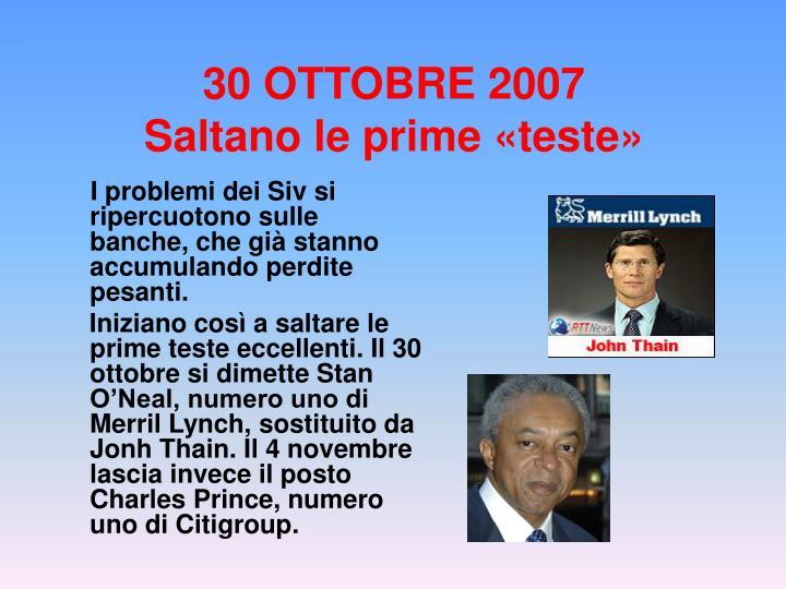30 OTTOBRE 2007