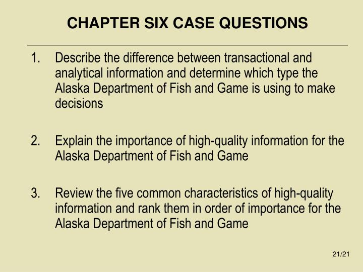 CHAPTER SIX CASE QUESTIONS