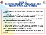 slide 15 the reasons for high into plane prices in the gulf region