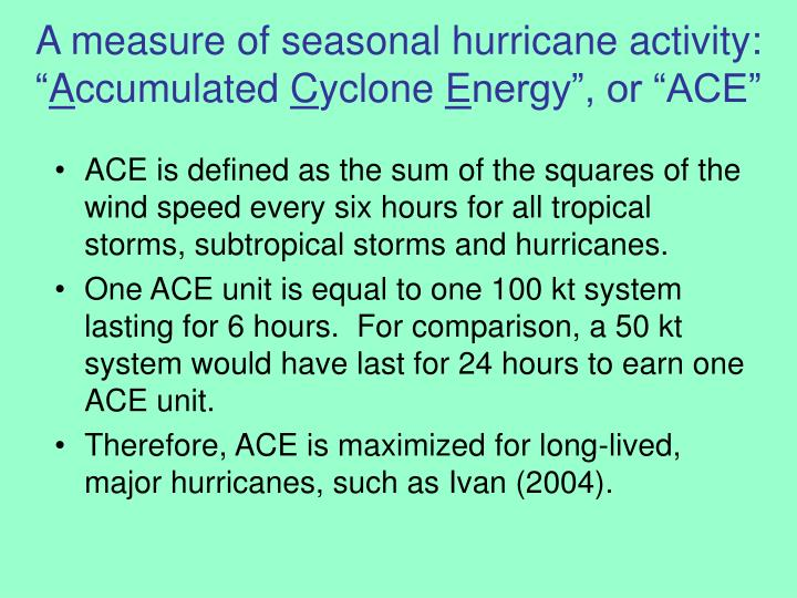 A measure of seasonal hurricane activity: ""
