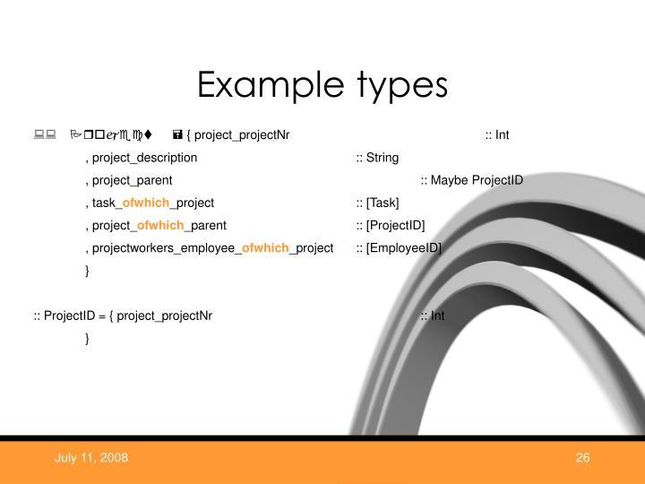 Example types