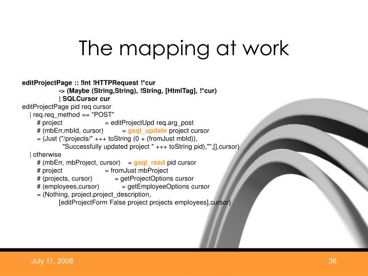 The mapping at work
