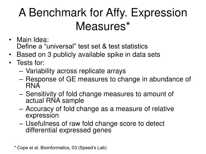 A Benchmark for Affy. Expression Measures*