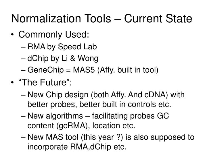 Normalization Tools – Current State
