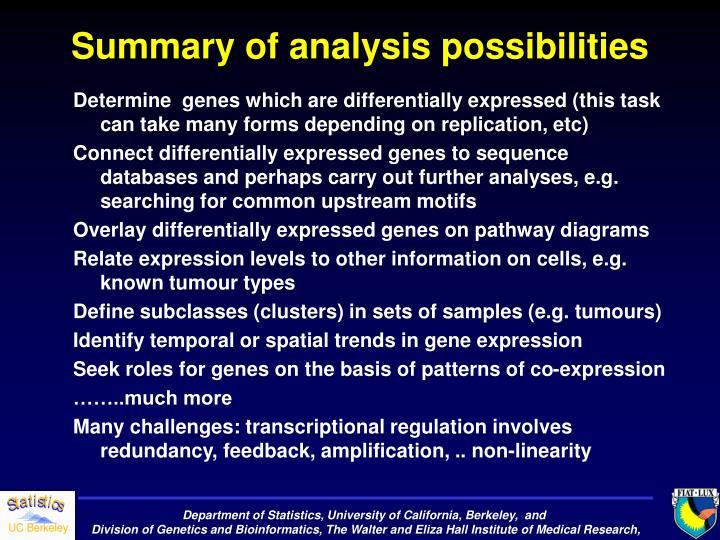 Summary of analysis possibilities