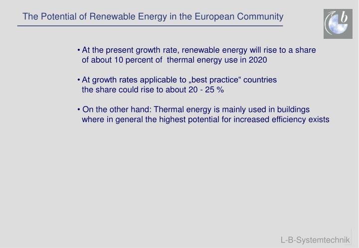 The Potential of Renewable Energy in the European Community