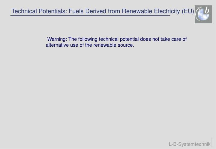 Technical Potentials: Fuels Derived from Renewable Electricity (EU)