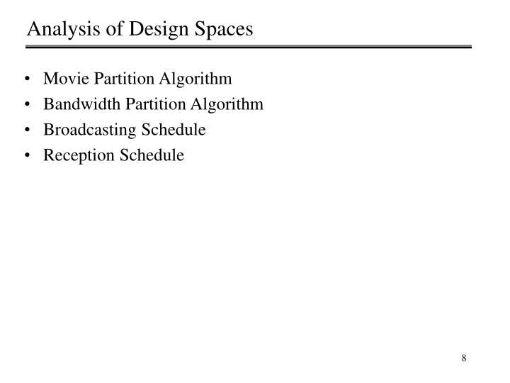Analysis of Design Spaces