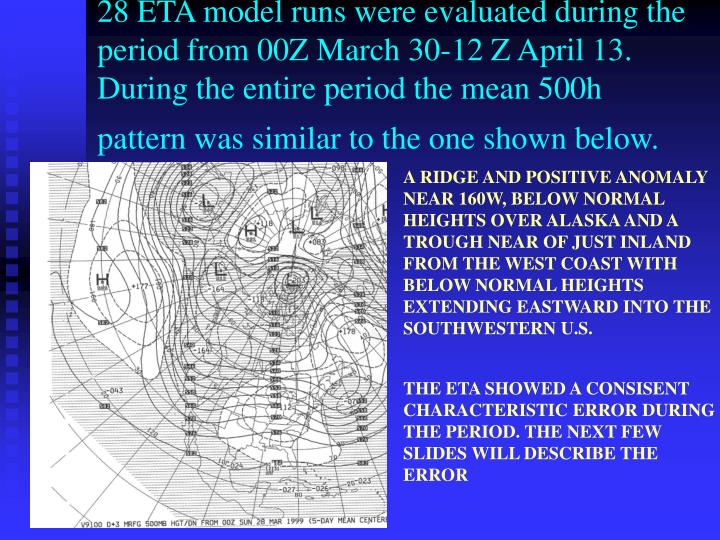 28 ETA model runs were evaluated during the period from 00Z March 30-12 Z April 13.  During the entire period the mean 500h pattern was similar to the one shown below.