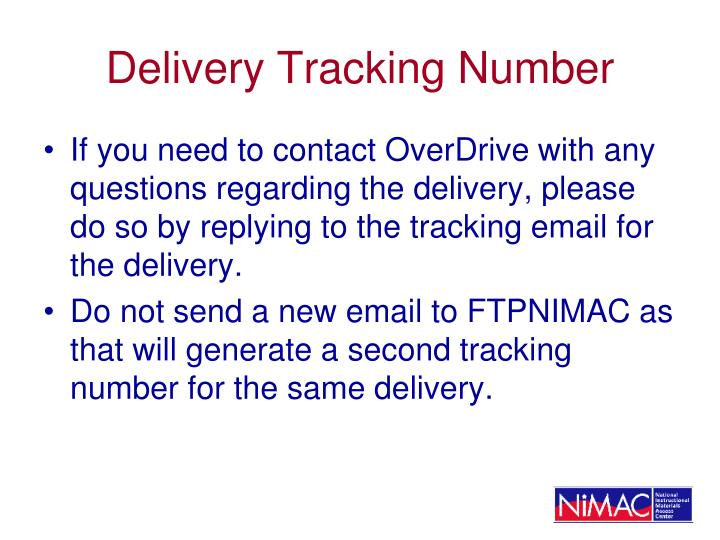 Delivery Tracking Number