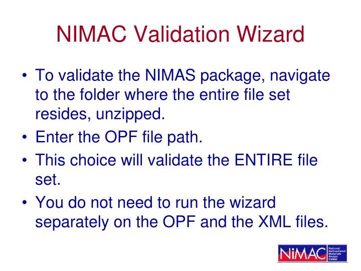 NIMAC Validation Wizard