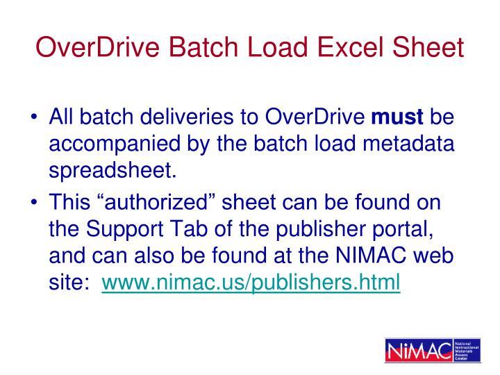 OverDrive Batch Load Excel Sheet