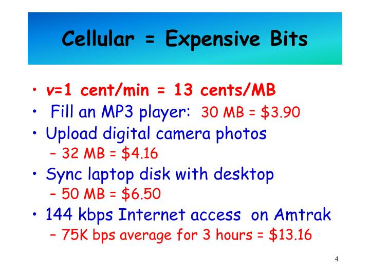 Cellular = Expensive Bits