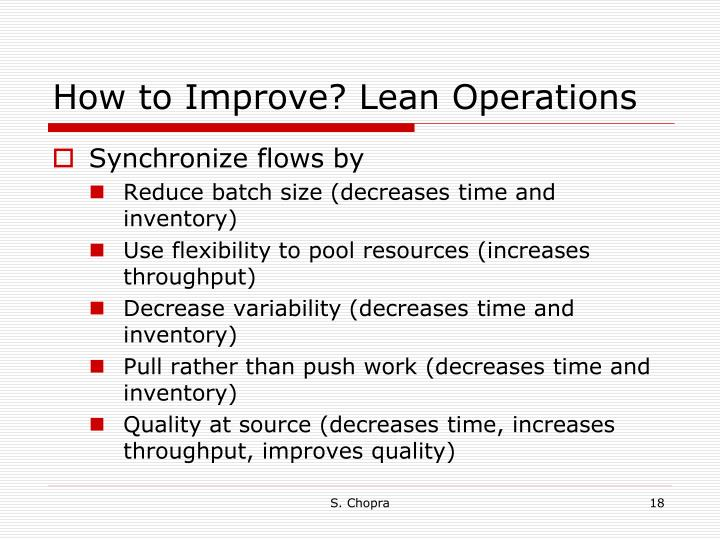 How to Improve? Lean Operations