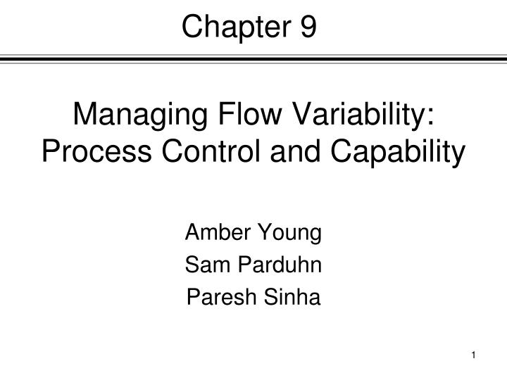 managing flow variability process control and capability n.