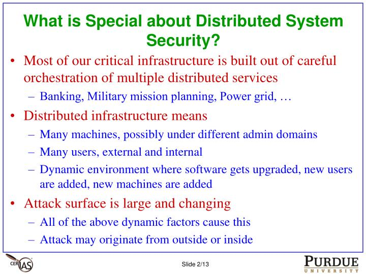 What is special about distributed system security
