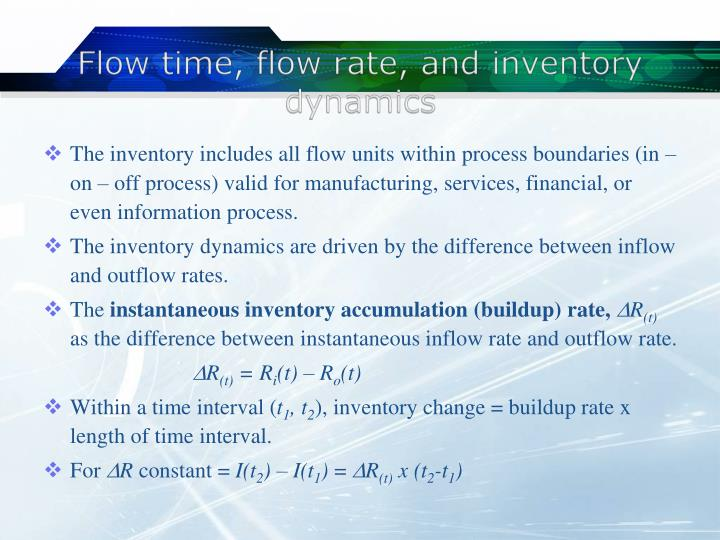 Flow time, flow rate, and inventory dynamics