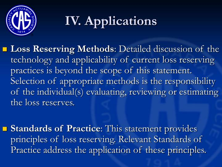 IV. Applications