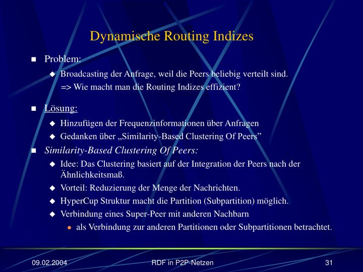 Dynamische Routing Indizes
