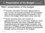 1 presentation of the budget continue9