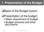 1 presentation of the budget