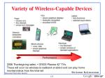 variety of wireless capable devices