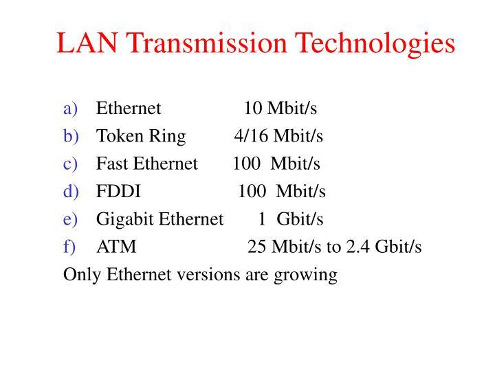 LAN Transmission Technologies