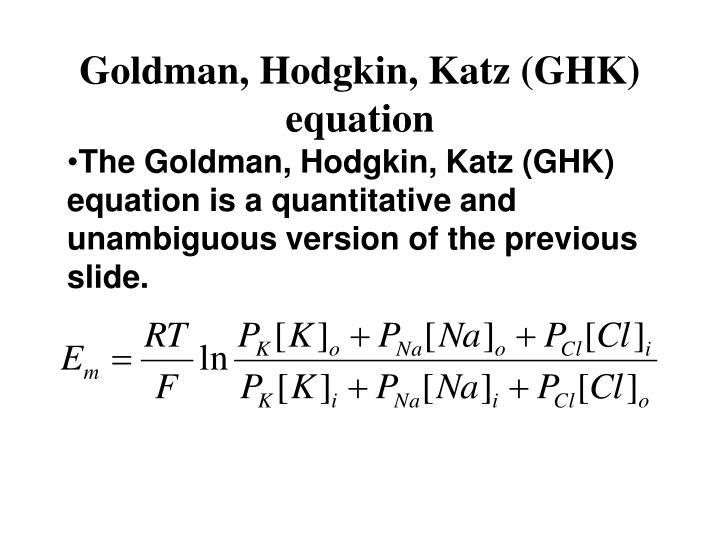 Goldman, Hodgkin, Katz (GHK) equation