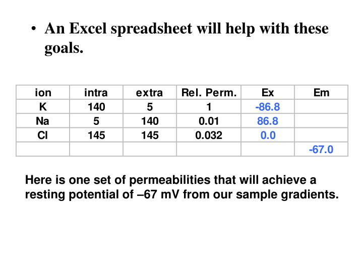 An Excel spreadsheet will help with these goals.