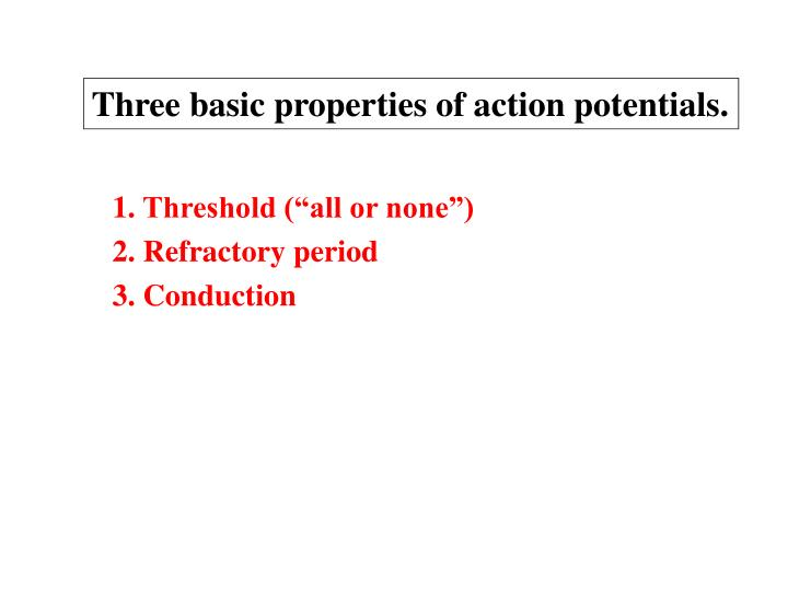 Three basic properties of action potentials.