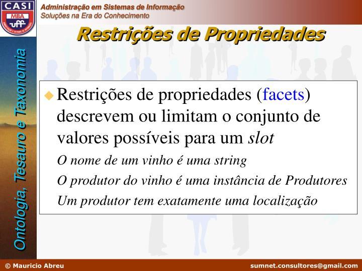 Restrições de propriedades (