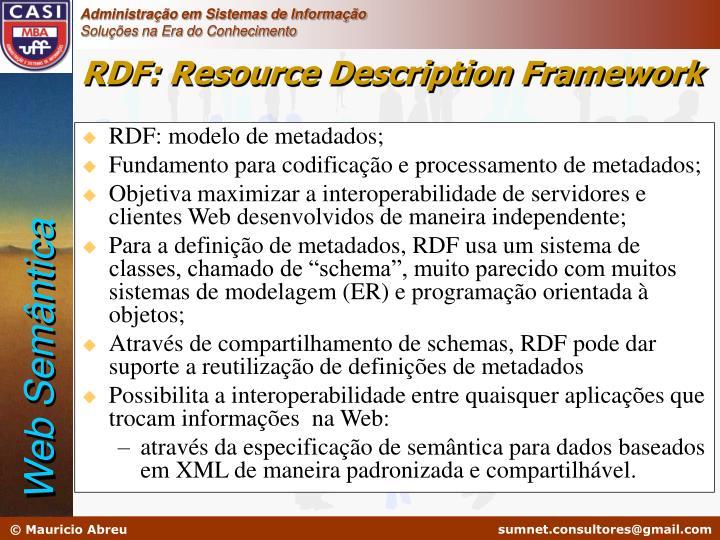 RDF: modelo de metadados;