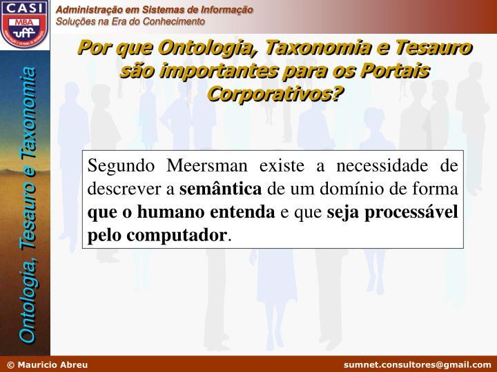 Por que Ontologia, Taxonomia e Tesauro são importantes para os Portais Corporativos?