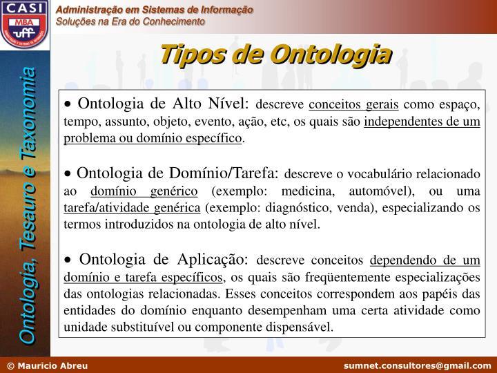 Tipos de Ontologia