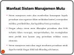 manfaat sistem manajemen mutu