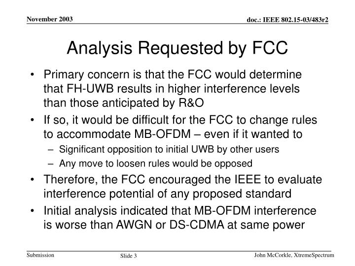 Analysis requested by fcc