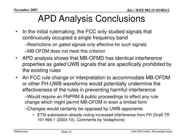 APD Analysis Conclusions