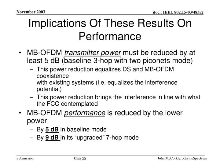 Implications Of These Results On Performance