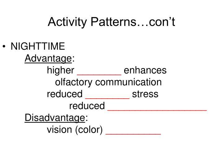 Activity Patterns…con't