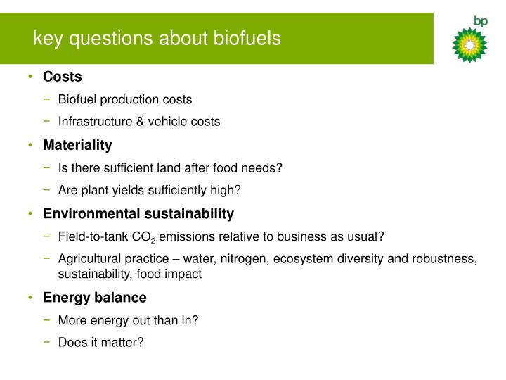 key questions about biofuels