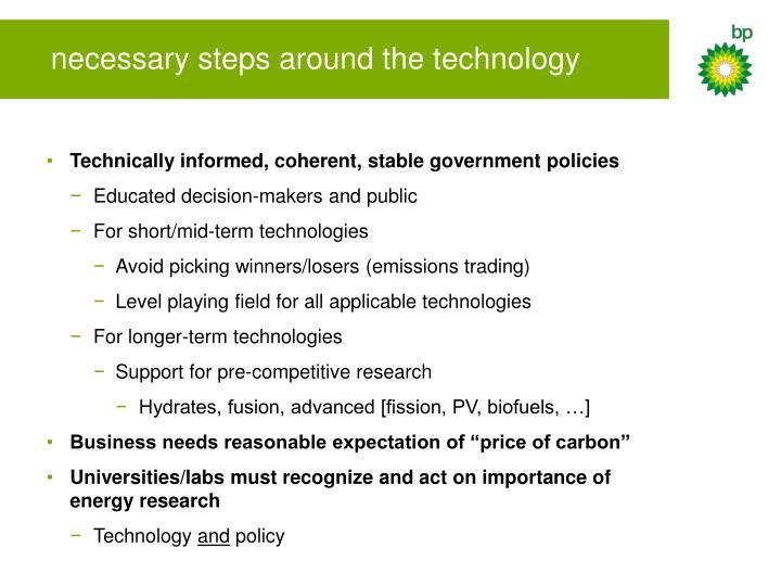 necessary steps around the technology