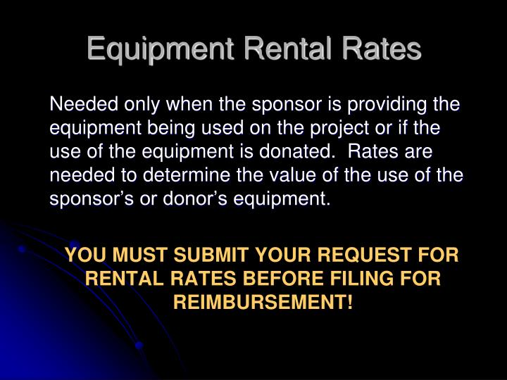 Equipment Rental Rates